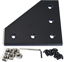KOOTANS 10Pcs/Set 5-Hole 90 Degree L Shape Outside Joining Plate with Screws and Nuts for 2020 Series Extrusion Aluminum Profile, Joint Bracket Plate