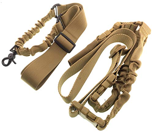Airsoft magic Two x 1 Point Quick Adjustable Quick Release Sling Strap Shoulder Strap for AEG GBB Airsoft - Tan