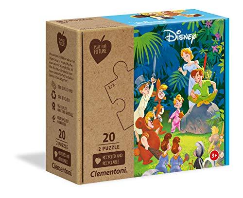Clementoni - Play For Future-The Jungle Book Carte e Puzzle per bambini 3 anni+, 2x20 Pezzi, Colore Multicolore, 24774