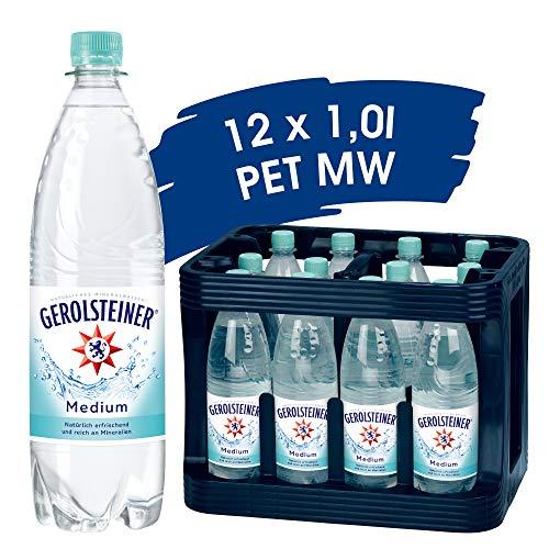 Gerolsteiner Medium / Natürliches Mineralwasser mit wenig Kohlensäure und wertvollem Calcium und Magnesium / 12 x 1,0 L PET Mehrweg Flaschen