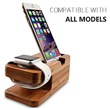 Wooden Apple Watch iPhone Bamboo Stand Charging Cradle Holder Nightstand Station 2 in 1 Dual Charger Dock Fit iPhone X / 8 / 7 / 6 Plus, 5/5S/5C, iWatch 42mm & 38mm Original BASIC/SPORT/EDITION