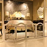 Muyu Wire Dog Gate for Pets - Freestanding Foldable Pet Gates, 4 Panel 80 Inch Extra Wide 24 Inch Tall Pet Puppy Safety Fence for Doorways Stairs White