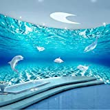 Murales de papel tapiz 3D Acuario de delfines Pintura mural de pared artística para sala de estar estudio telón de fondo pared decoración del hogar-250X175CM