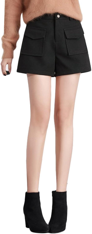 TSINY G Women's Loose Fashion High Waist Casual Aline Shorts Winter Thicken Wide Leg Shorts ( color   Black , Size   XL )