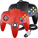 2 Pack N64 Controller, iNNEXT Classic Wired N64 64-bit Gamepad Joystick for Ultra 64 Video Game Console (Black/Red)