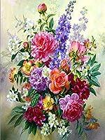 5 dのDIYダイヤモンド刺繍花フル四角円形ラインストーンモザイク塗装クロスステッチ花ダイヤモンドキット/5D DIY Diamond Embroidery flower Full Square Round Rhinestone Mosaic Painting Cross Stitch Flowers Diamond Kit (Ground Diamond,40X30CM(16X12in))