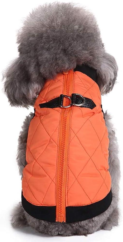 Fossrn Ropa Perro Invierno Compruebe el Chaleco del Mascota del Bombardero Acolchado con el Pecho Estirable Abrigo Chaqueta