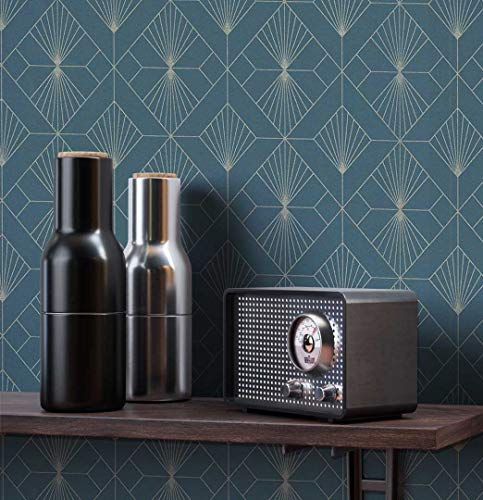 NEWROOM Tapete grafisch grün Muster Tapeten der 50er Art Deco Vliestapete Vlies Tapete Luxus Modern Glamour inkl. Tapezier Ratgeber ǀ Grafik