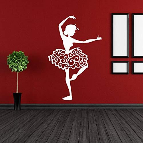JXWH 57x86 cm ballerina behang applique danskamer kinderen meisje slaapkamer huisdecoratie ballet silhouet creatieve jurk muurschildering kunst vinyl sticker
