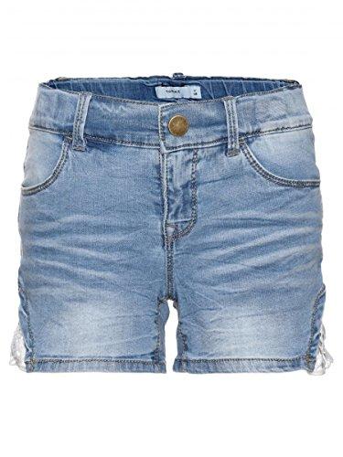 NAME IT Kids meisjes denim shorts, korte broek Batira met kant in Light Blue Denim