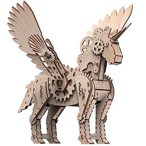 Mr. Playwood Puzzle 3D de madera con diseño de unicornio, juego de construcción de maquetas, juego de construcción de maquetas, juego de construcción de maquetas, para adultos y niños