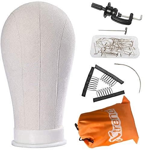"""Xtrend 21""""-24"""" Canvas head Tête de mannequin en tête de perruque en toile de polyester pour la fabrication/le séchage/le styling des perruques 21inch"""