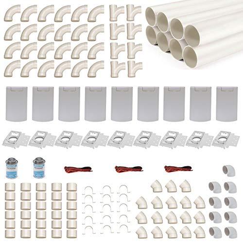 Zentralstaubsauger Einbau-Set für 9 Saugdosen mit Rohren, Fittings & Co. - Montageset für DIY-Einbau einer Staubsaugeranlage - Saugdose R-VEX rechteckig