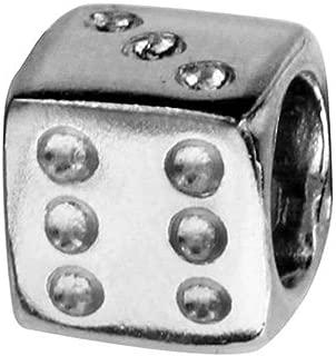 Charm dado a jugar-Charms Compatibles Pandora, Trollbeads, Chamilia Biagi de plata 925