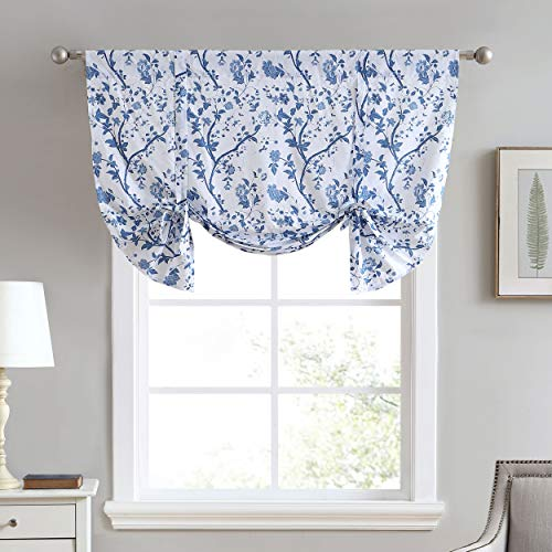 "Laura Ashley Home Elise Collection Stylish Floral Print Valance Curtain, Chic Decorative Window Treatment for Home Décor, 50"" x 18"", Blue"