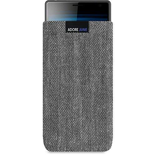 Adore June Business Tasche passend für Sony Xperia 10 Handytasche aus charakteristischem Fischgrat Stoff - Grau/Schwarz | Schutztasche Zubehör mit Bildschirm Reinigungs-Effekt | Made in Europe