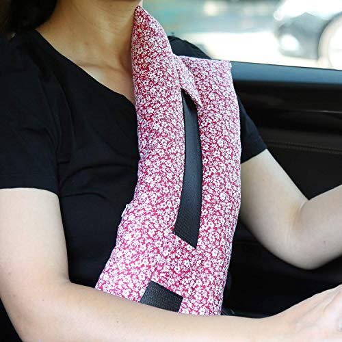 Seatbelt Pillows for Post-Surgery Comfort Mastectomy Breast Cancer Port Pacemaker Heart Surgery C-Section Recovery Support Cushion Pad Patient Care Car Travel Pillow (Tiny Flower)