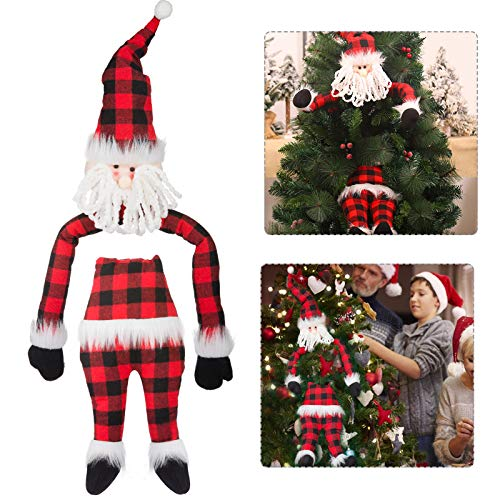 Christmas Hugging Santa Claus Tree Topper- Christmas Tree Topper Santa Claus Hugger with Cotton Filled Arm and Body for Christmas Tree Decoration, Winter Wonderland Party Supplies