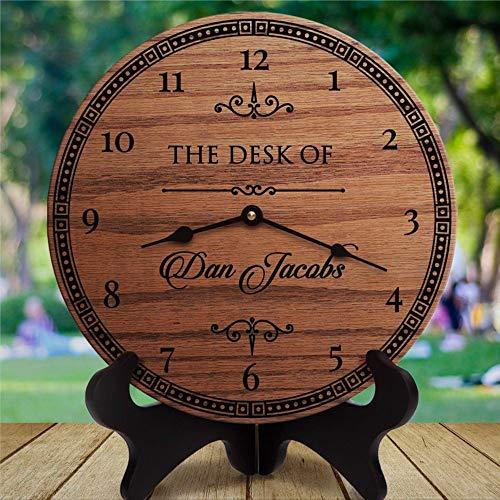 Reloj de madera personalizado para mesa de mesa para regalo de director para regalo de director para jefe Guy Coworker Presente, reloj de pared de madera, funciona con pilas, decoración de pared Hom