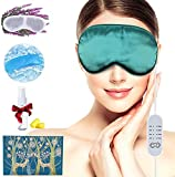 CofeLife Heated Eye Mask, USB Silk Eye Mask for Dry Eyes with Temperature & Timer Control, Cold and Warm Eye Compress Mask for Sleep, Dry Eyes, Blepharitis, Dark Circles, MGD and Puffy Eyes (Green)
