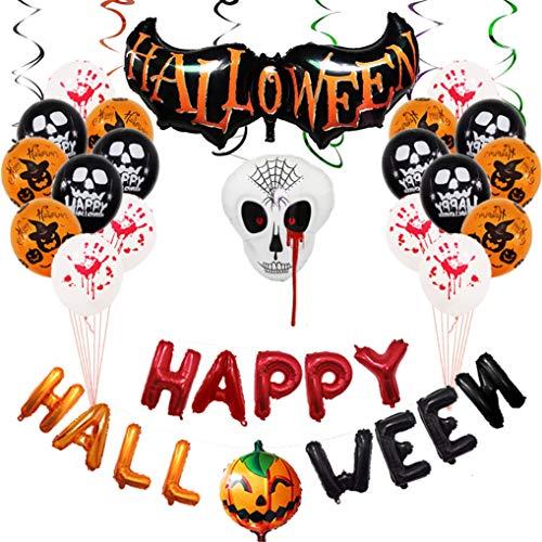 Decoracion Halloween Casa,Bandera Banderinas de Globos Happy Halloween, Happy Halloween Pumpkin Bat Fantasma Brujas Spider Skull Grimace, Murciélago gigante de Halloween