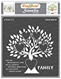 CrafTreat Family Stencils for painting on Wood, Canvas, Paper, Fabric, Floor, Wall and Tile - Family Tree - 12x12 Inches - Reusable DIY Art and Craft Stencils for Home Decor - Family quotes