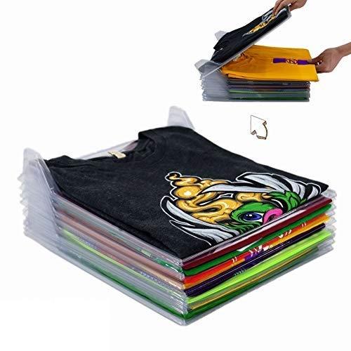 Nifogo Organizador de Armario el hogar Estantería Plegable Estante de Almacenamiento Organizador Plegable Apilamiento Camisas Camiseta Folder, 40 Unidades (Blanco) (30PCS)