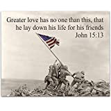 Greater Love - Raising the Flag on Iwo Jima - 11x14 Unframed Art Print - Perfect Decor and Gift for Military, Veterans and Patriots Under $15