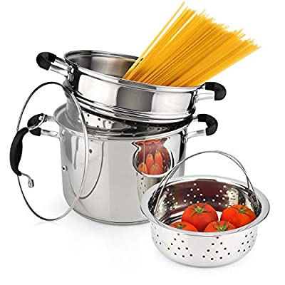 AVACRAFT 18/10 Stainless Steel, 4 Piece Pasta Pot with Strainer Insert, Stock Pot with Steamer Basket and Pasta Pot Insert, Pasta Cooker Set with Glass Lid, 7 Quart