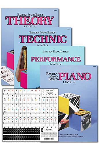 Bastien Piano Basics Level 2 Learning Set By Bastien - Lesson, Theory, Performance, Technique & Artistry Books & Juliet Music Piano Keys 88/61/54/49 Full Set Removable Sticker