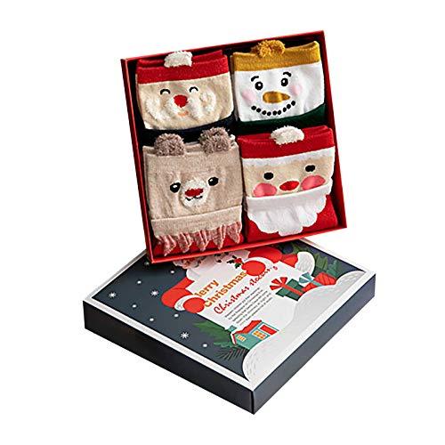 BBQQ - Calcetines de algodón con diseño navideño de Elk, Elder Middle