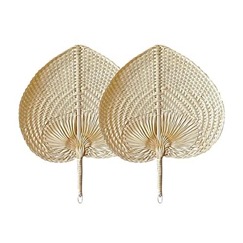 QOTSTEOS Lot de 2 éventails en bambou naturel - Éventail portable en rotin fait à la main - Éventail en raphia tissé - Pour l'été, la plage, l'intérieur et l'extérieur