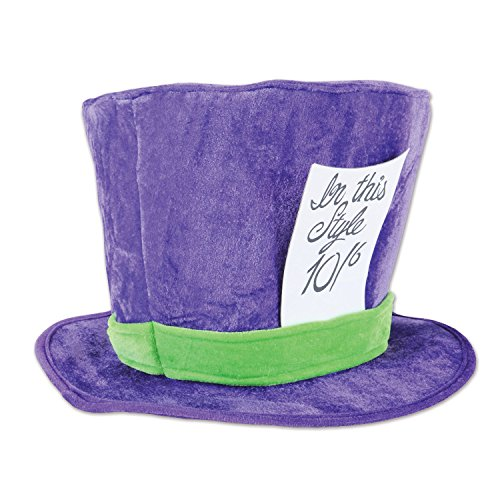 Beistle 60059 Plush Mad Hatter Hat, Purple/Green