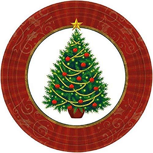 Amscan - Platos de papel para postre con diseño de árbol de Navidad, 50 unidades