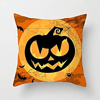 Genetic Los Angeles Happy Halloween Pillow Covers Cotton Set of 4 for Sofa, Home Couch, Bed Decto with Treat or Trick, Pumpkin, Cat in Orange Autumn Color 18 x 18