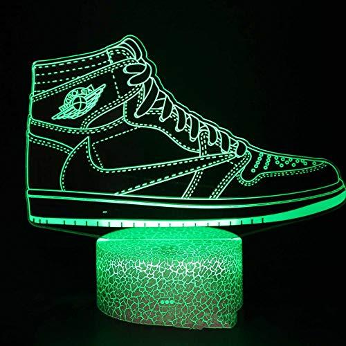 CYJQT 16 colores de luz nocturna, Bluetooth Altavoz, reloj, Moda zapatillas de deporte, Luz de noche 3D LED 16 colores ilusión USB táctil lámpara de mesa cumpleaños niño niños amigos bros familia navi