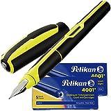 Pelikan - Penna stilografica Style Neon, pennino M (giallo) + 10 cartucce grandi GTP