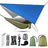 Uong Hamac de camping 3 en 1 avec moustiquaire à fermeture éclair et bâche - Capacité de charge 200 kg - Moustiquaire respirante à séchage rapide - Bâche pour camping, randonnée, pique-nique, jardin