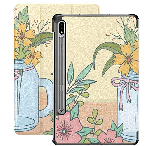 Smart Cover para Samsung Galaxy Tab S7 Plus 2020 Release 12.4 Pulgadas SM-T970 / T975 / T976 con portalápices, Tarro de Cristal con decoración Floral, Piso de Madera
