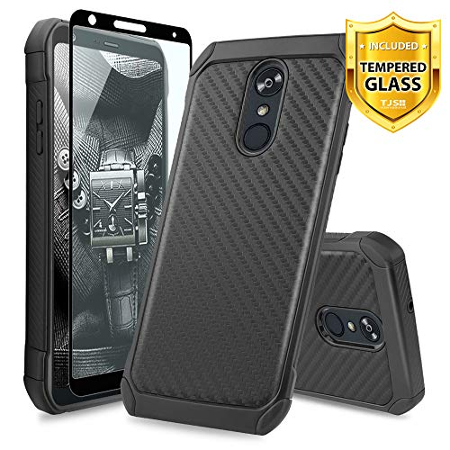 TJS LG Stylo 4 2018/LG Stylo 4 Plus/LG Q Stylus/LG Q Stylus Plus/LG Q Stylus Alpha Phone Case, [Full Coverage Tempered Glass Screen Protector] Hybrid Shock Absorbing Carbon Fiber Inner Layer (Black)