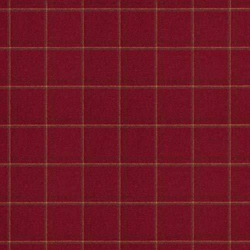 Decoración inglesa para muebles, tela de tapicería difícilmente inflamable, patrón de cuadros, rojo, tela de tapicería resistente, tejido a cuadros de lana virgen, absorción de ruido, oscurecimiento