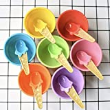 CheeseandU 12Pack Kids Ice Cream Bowl Spoon Set Safe Durable Plastic Candy Color Lovely Dessert Bowl Yougurt Cup DIY Ice Cream Tools Summer Festive Party Favor Kids Gift(24pcs)