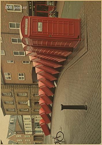 H/A Autobuses Rojos De Londres Y Cabinas Telefónicas Torre De Londres Pintura Retro Sin Marco Wallpapercafé-Bar Carteles Antiguos Decorados D1063 50X70Cm