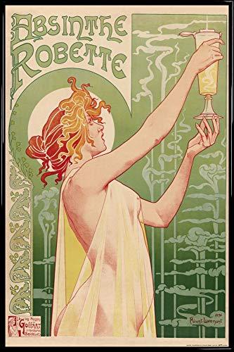 1art1 Historische Werbeplakate Poster und Kunststoff-Rahmen - Absinthe Robette, Henri Privat Livemont, 1896 (91 x 61cm)