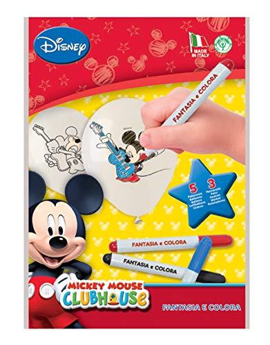 Kit Fantasie und Colora Mickey Mouse Club House (5Luftballons zum Ausmalen und 3Filzstifte)