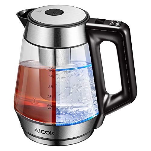 Electric Kettle Glass Tea Kettle, 1.7L Precision Temperature Control Kettle with...