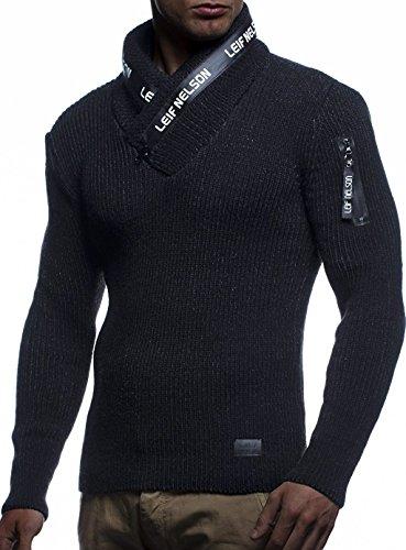 Leif Nelson Herren Strick-Pullover Schalkragen Slim Fit Winter Sommer Moderner Männer schwarzer Pulli T-Shirt Langarm mit Kragen Herren Hoodie-Wollpullover LN5460 Schwarz-Anthrazit Medium