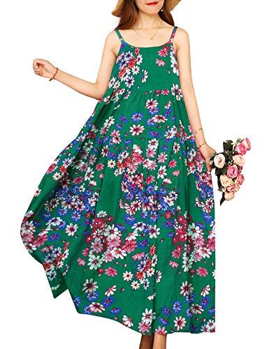 YESNO Women Casual Loose Bohemian Floral Print Dresses Spaghetti Strap Long Maxi Summer Beach Swing Dress XL E75 CR82