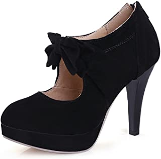 Ladies Vintage Bow Shoes High Heel Stiletto Pump for Party Wedding