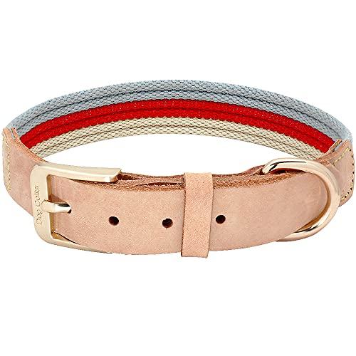 WWHPVP Collares de Perro de Cuero Genuino, cinturón de Tela de poliéster Collar de Mascotas para pequeños Perros Grandes Grandes Pitbull Bulldog francés Producto Mascota,Rot,48~59cm